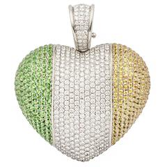 Theo Fennell Art Irish Flag Heart Pendant