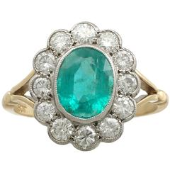 1960s 1.51 Carat Emerald Diamond Yellow Gold Dress Ring