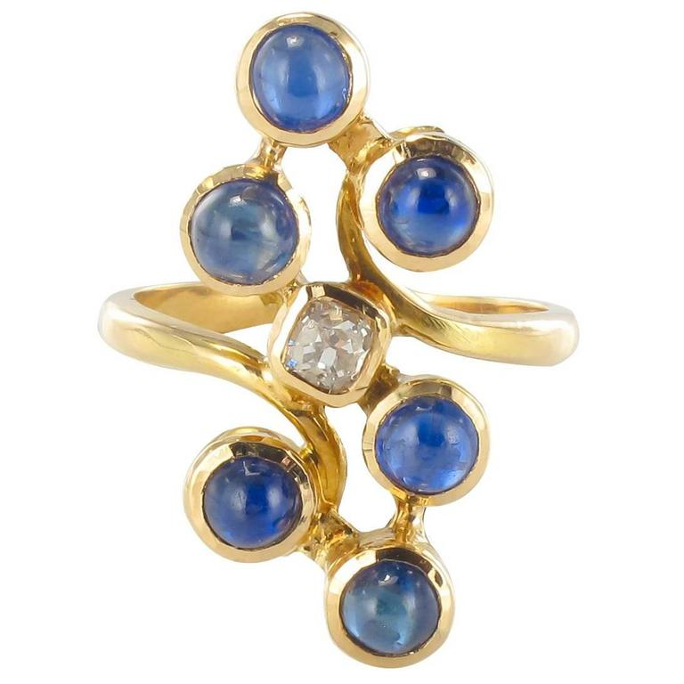 1970s Modernist Sapphire and Diamond Ring