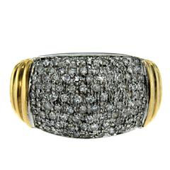 Retro 1.00 Carat Pave Diamonds Gold Ring