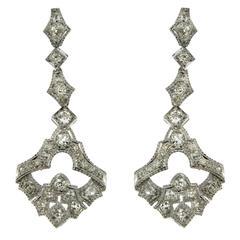 Art Deco Diamond Gold Drop Earrings