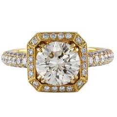 GIA Certified 1.99 Carat Diamond Gold Engagement Ring