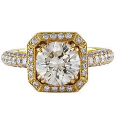 GIA Certified 1.99 Carat Diamond Gold Engagement Ring