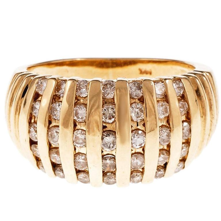 Domed Channel Set Diamond Gold Cocktail Ring