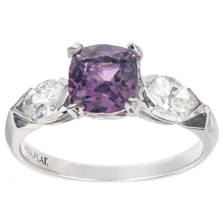 GIA Certified 1.89 Carat Purple Sapphire Diamond Platinum Engagement Ring