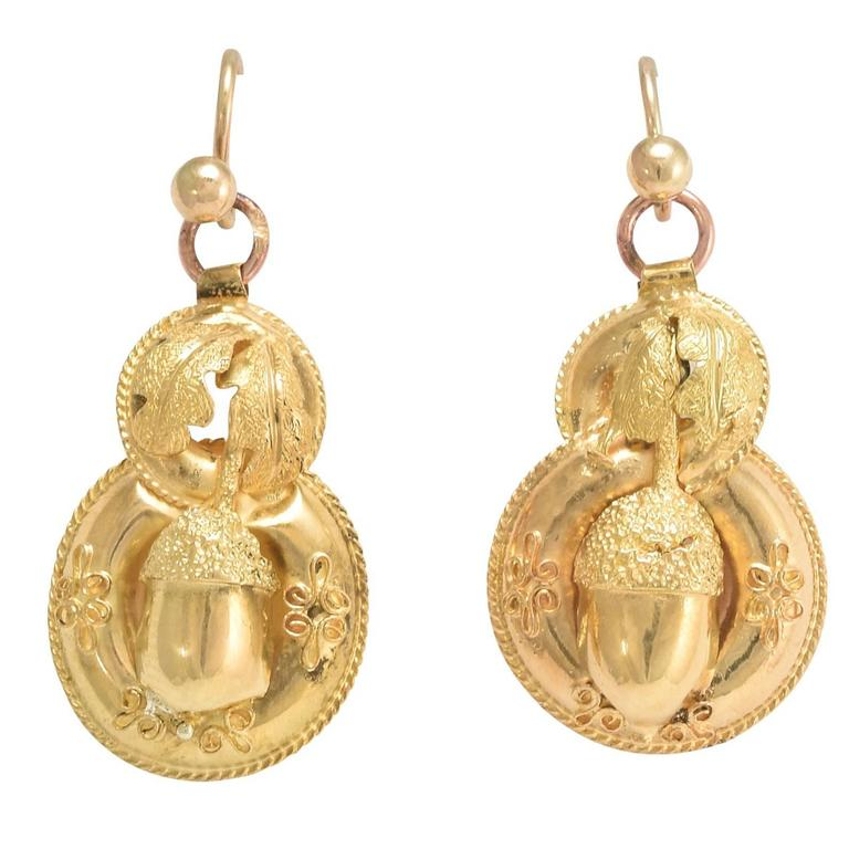 Antique Etruscan Revival Gold Acorn Earrings