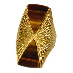 1970s Kutchinsky London Tiger's Eye and Gold Ring