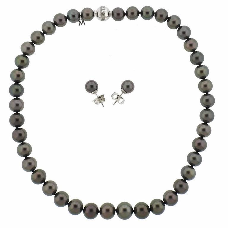 Mikimoto Gold Black South Sea Pearl Diamond White Gold Necklace Earrings Set
