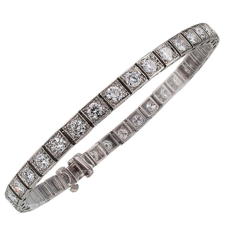Oscar Heyman Art Deco Diamond Line Bracelet
