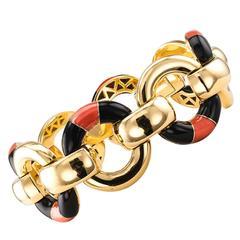 Coral Onyx Gold Link Bracelet