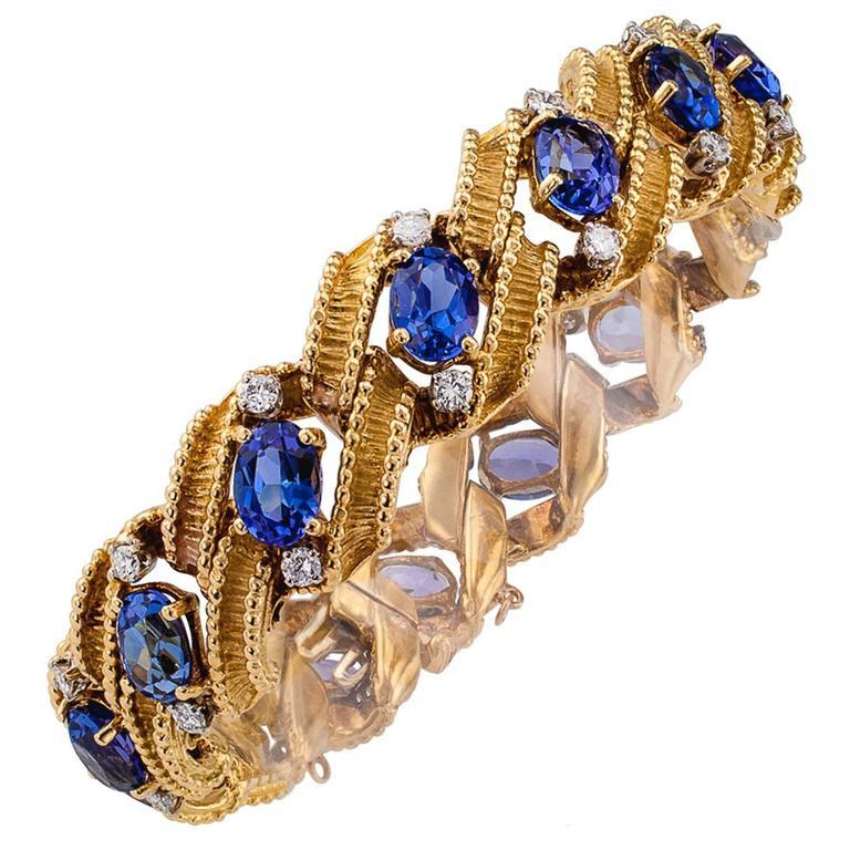 Tanzanite Diamond Gold Bracelet
