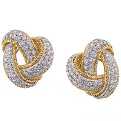 David Webb Diamond and Gold Knot Earrings