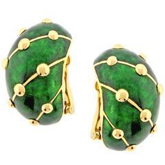 Schlumberger for Tiffany & Co. Green Enamel Paillonne Earclips
