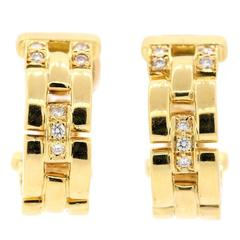 Cartier Maillon Panthere Diamond Gold Earrings