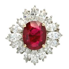 AGL Certified 5.15 Carat Natural Ruby Ring