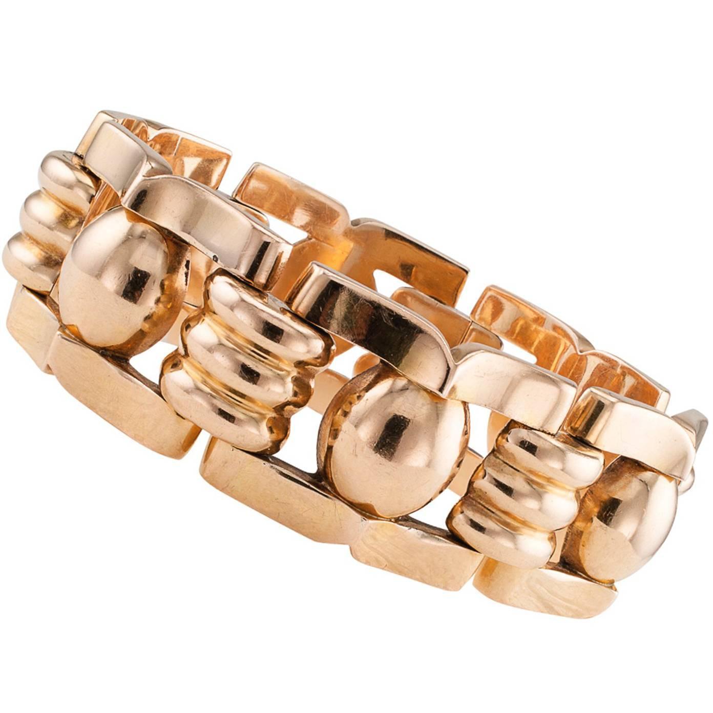 1940s Pink Gold Retro Bracelet