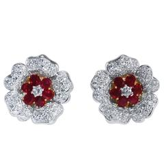 Ruby Diamond Platinum and Gold Flower Earclips
