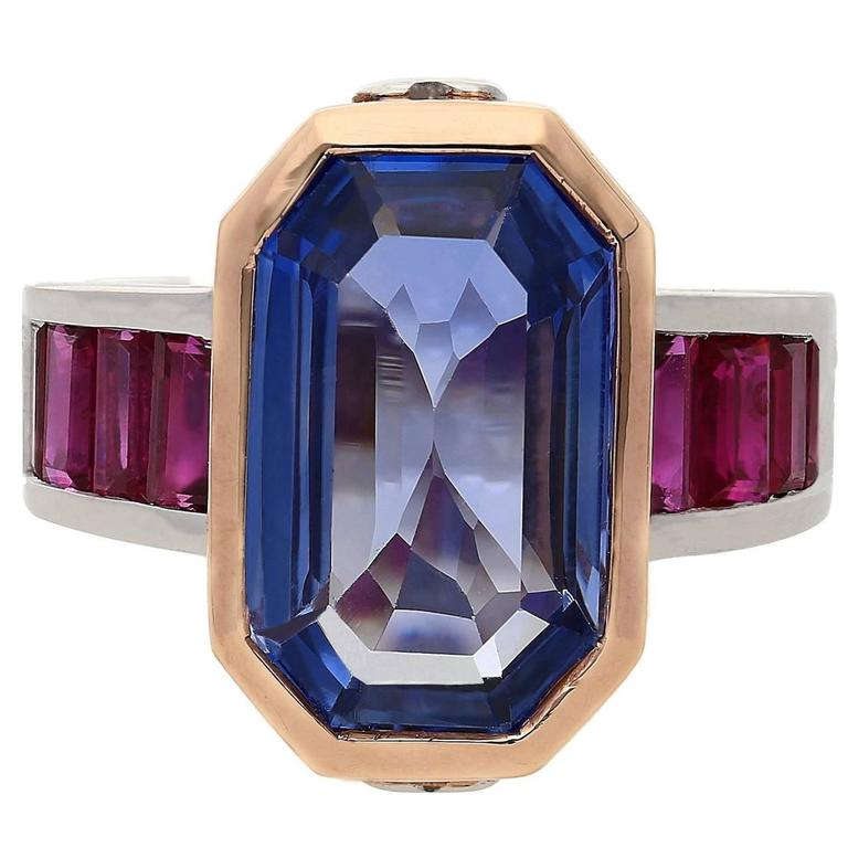 6.79 Carat Emerald Cut Ceylon Sapphire Diamond Ruby Gold Cocktail Ring