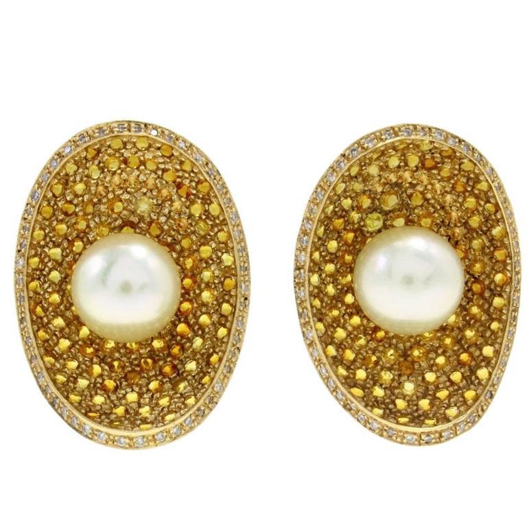 KT 4,35 Topaz, Pearl, Diamond  Gold Earrings