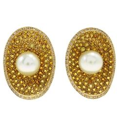 Luise Topaz Pearl Diamond Earrings