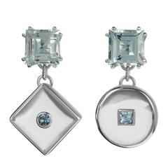 White Gold Aquamarine Rock Crystal Square-peg-round-hole Earrings
