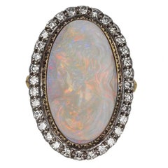 Carved Womans Head Opal Diamond Ring