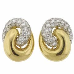 1980s 4.50 Carat Diamonds Gold Earrings