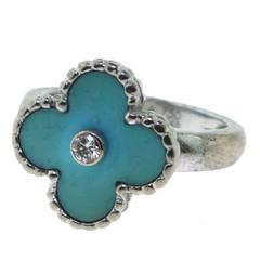 Van Cleef & Arpels Vintage Alhambra Turquoise Ring with Diamond