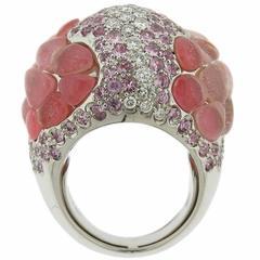 Porrati Pink Sapphire Gemstone Diamond Dome Ring