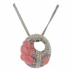 Porrati Gold Diamond Pink Sapphire Gemstone Pendant Necklace