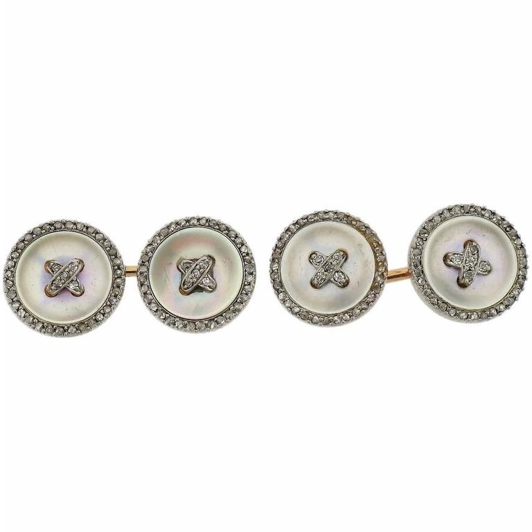 Art Deco 1920s Gold Diamond Mother-of-Pearl Button Cufflinks