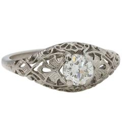 Romantic 1920s Platinum Filigree Diamond Engagement Ring .50 Carat J/SI1