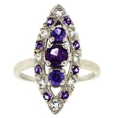 Amethyst Diamond White Gold Navette Shaped Cocktail Ring