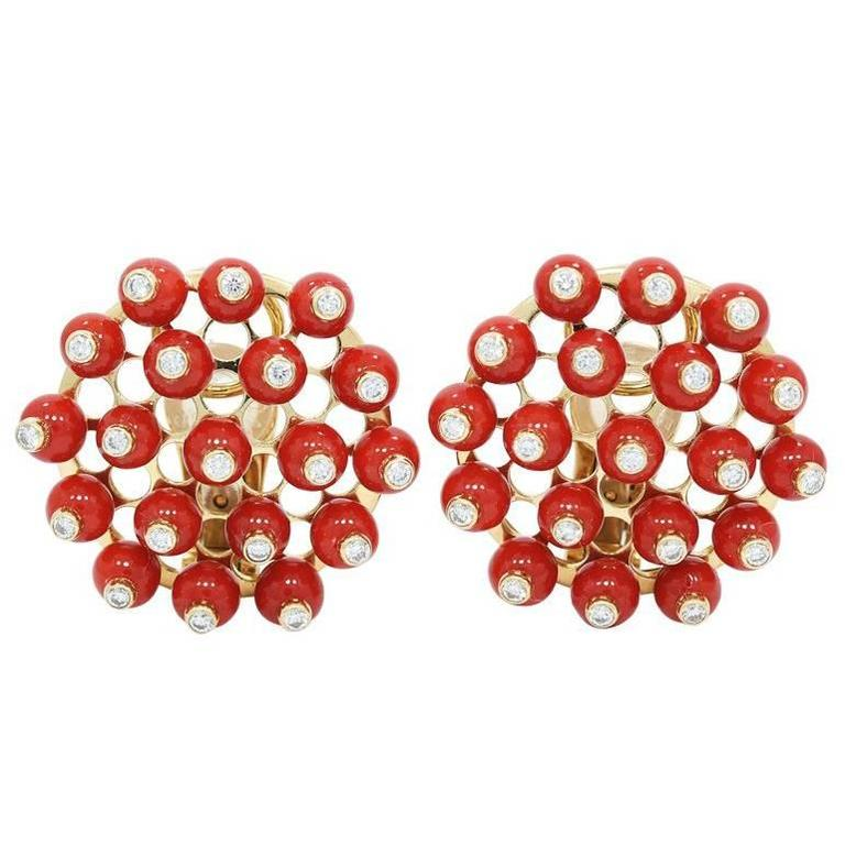 Yellow Gold Mediterranean Coral Beaded Earrings