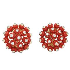 Mediterranean Coral Yellow Gold Earrings