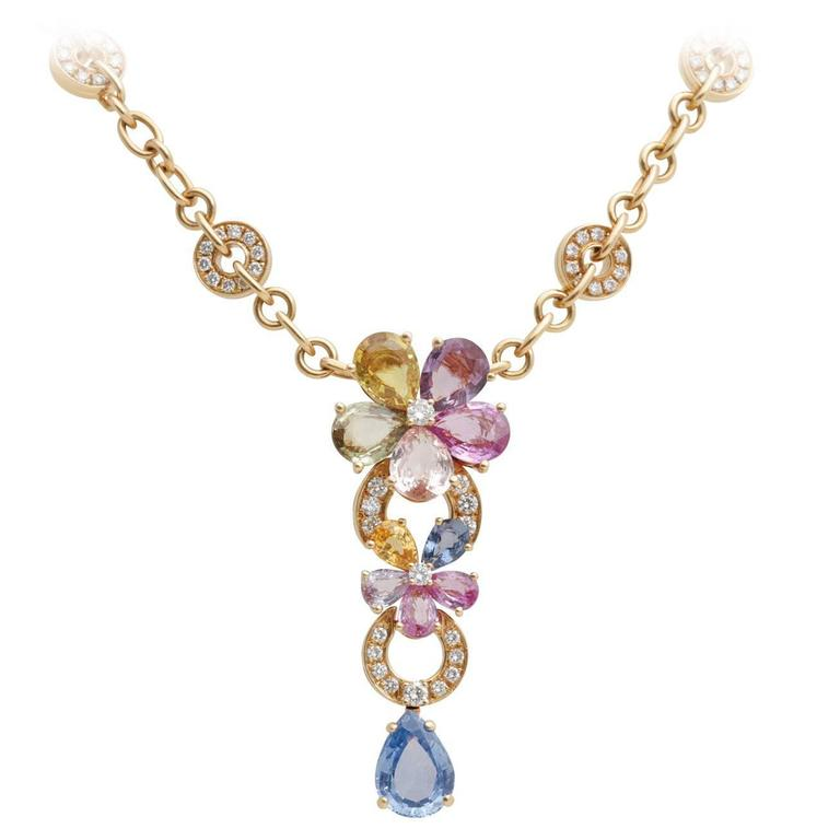 Bulgari BVLGARI Multicolor Sapphire Diamond Gold Flower Necklace