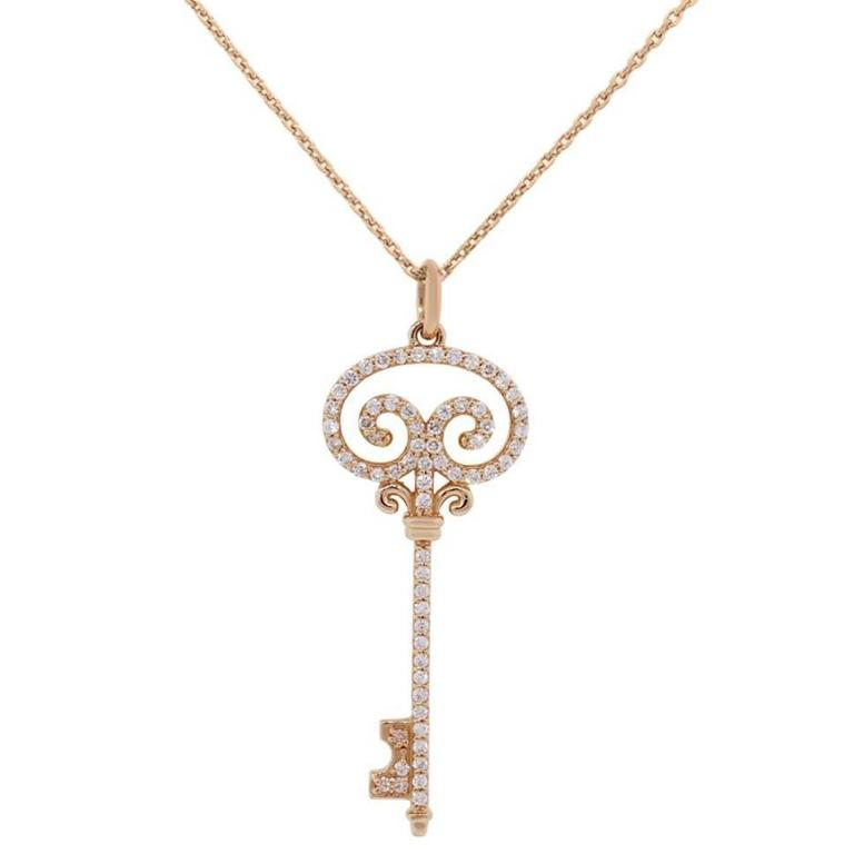 Chopard rose gold diamond key pendant and necklace at 1stdibs chopard rose gold diamond key pendant and necklace for sale mozeypictures Image collections