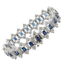 Sapphire Diamond Platinum Bracelet
