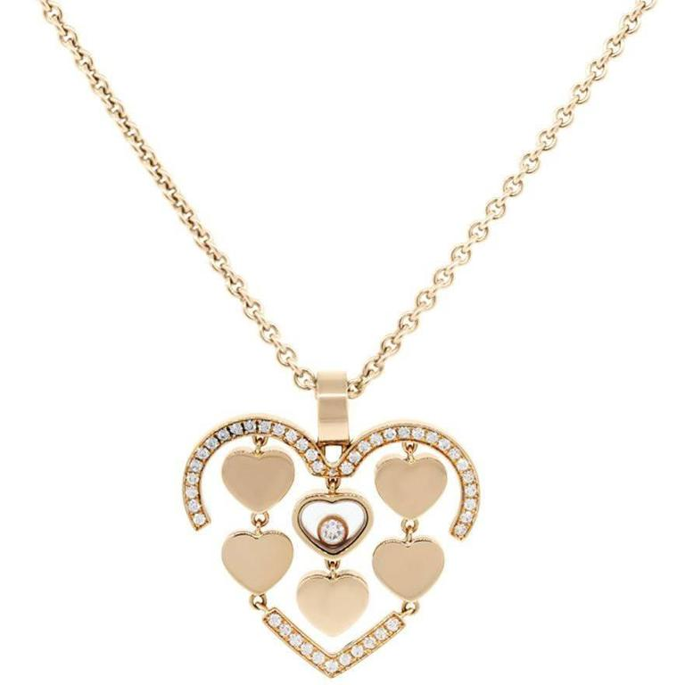 Chopard Rose Gold Happy Amore Floating Diamond Necklace
