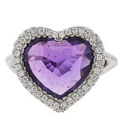 4.16 Carat Ceylon No Heat Purple Sapphire Diamond White Gold Ring