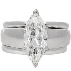 2.38 Carat Marquise Cut Diamond Engagement Circle of Love Engagement Ring