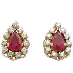 1980s 1.20 Carat Ruby Diamond Yellow Gold Cluster Earrings