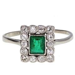 Art Deco Square Emerald Diamond White Gold Cluster Ring