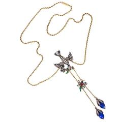 Antique Georgian Enamel Rose Cut Diamond Gold Bird Bug Necklace
