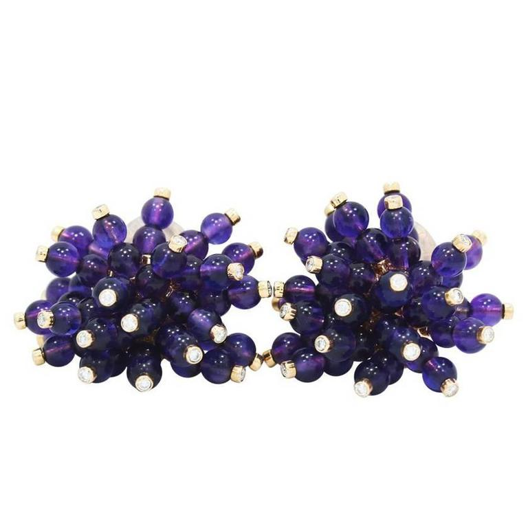 Amethyst Yellow Gold Earrings