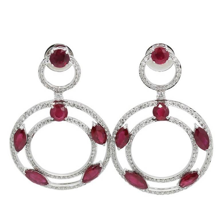 Ruby Diamond White Gold Dangle Earrings For Sale