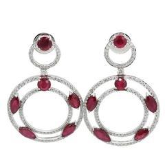 Ruby Diamond White Gold Dangle Earrings