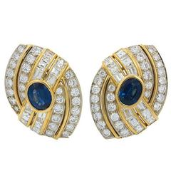 Sapphire Diamond Yellow and White Gold Earrings