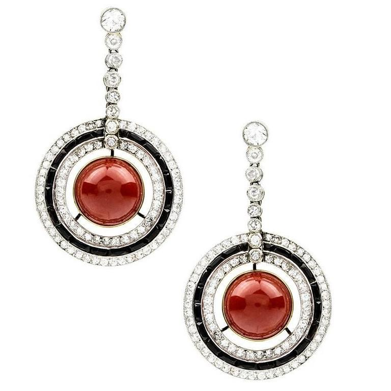 Art Deco Coral Onyx and Diamond Earpendants