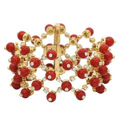 Mediterranean Coral Diamond Yellow Gold Fence Beaded Bracelet